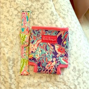 Lily Pulitzer can koozie and Apple Watch band